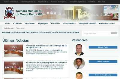 Site da Câmara de Monte Belo
