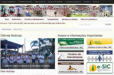 Site da Prefeitura de Monte Belo