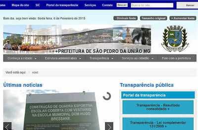 Site da Prefeitura de São Pedro da União